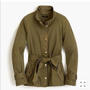 J Crew tie-waist cotton jacket in olive